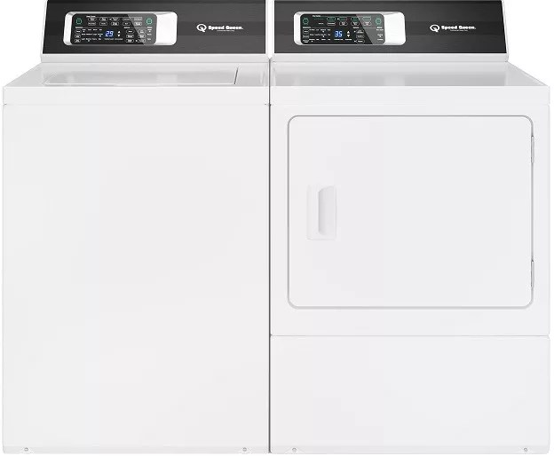 Speed Queen Sqwadrewtr7 Side By Side Washer Dryer Set With Top Load Washer And Electric Dryer In White
