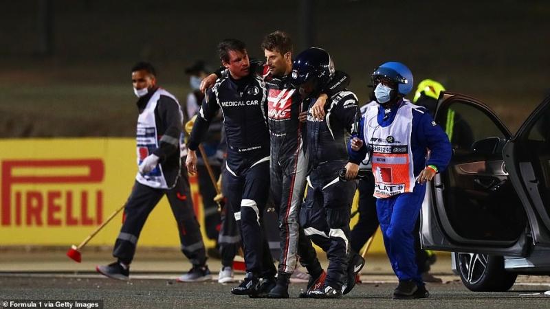 أول فيديو لـ رومان جروجان بعد نجاته من حادث الموت في سباق F1 2