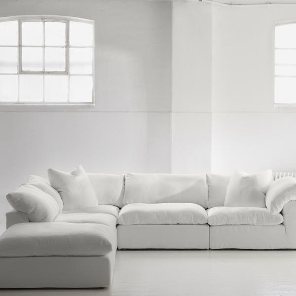 sectional sofa in white linen
