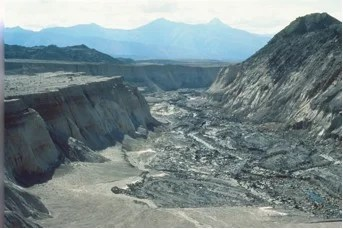 This canyon system, with 100-feet high cliffs, was eroded adjacent to Mount St. Helens in less than a day!
