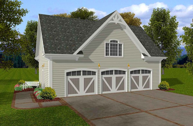 Siding Three Car Garage With Storage