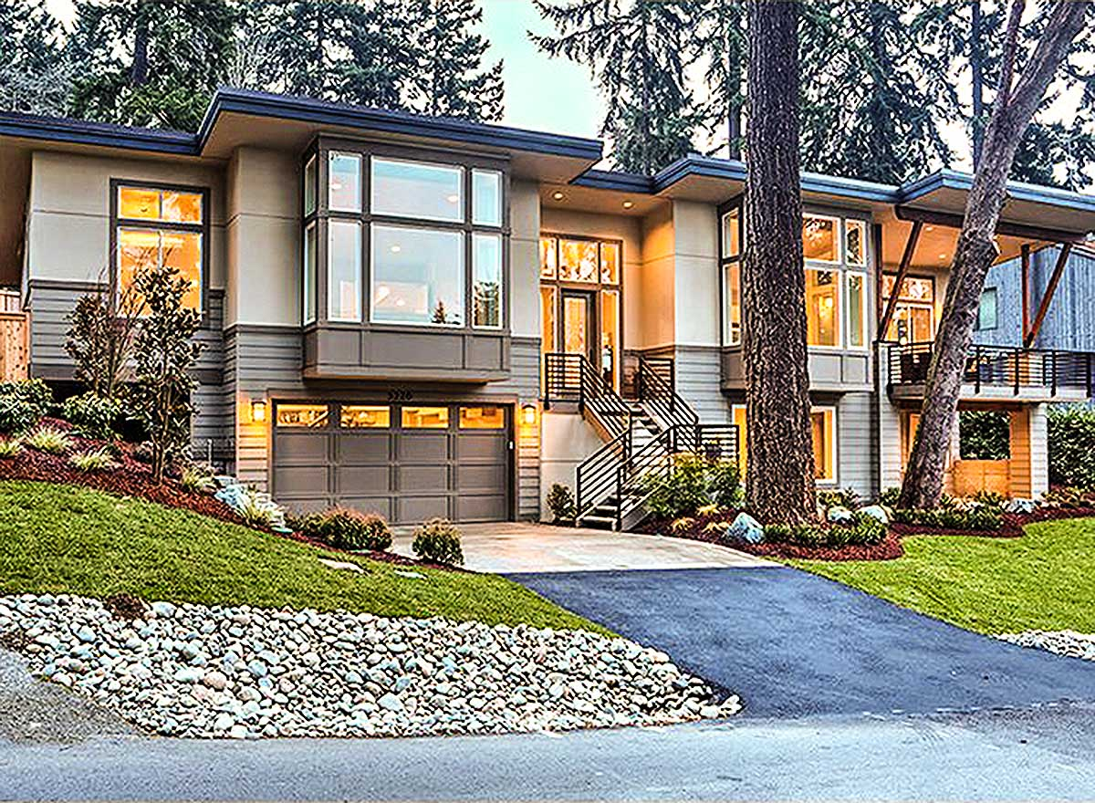 Modern Beauty For Front Sloping Lot - 23556JD ... on Modern House Ideas  id=53649