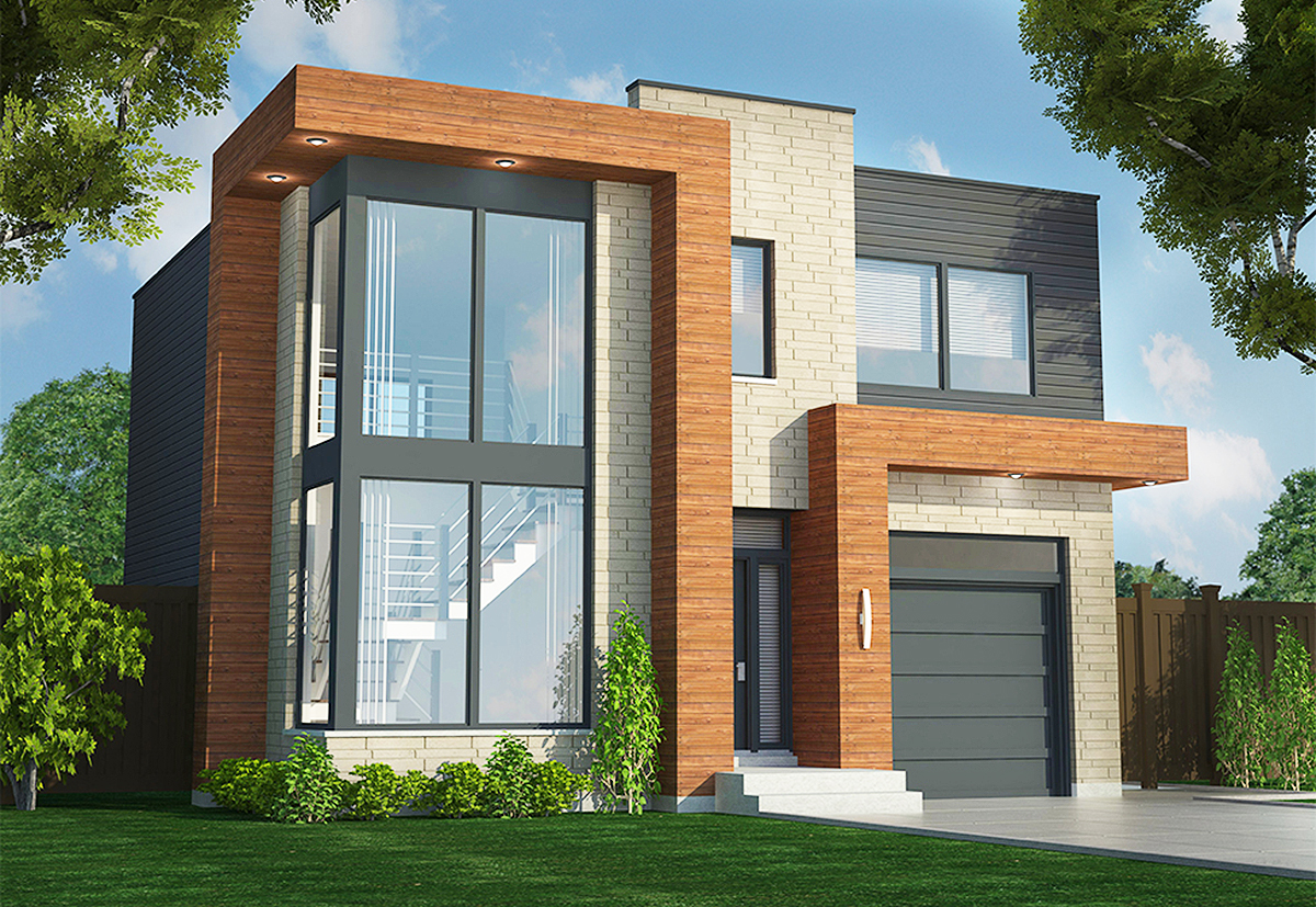 Contemporary Duplex - 90290PD | Architectural Designs ... on Modern House Ideas  id=46470