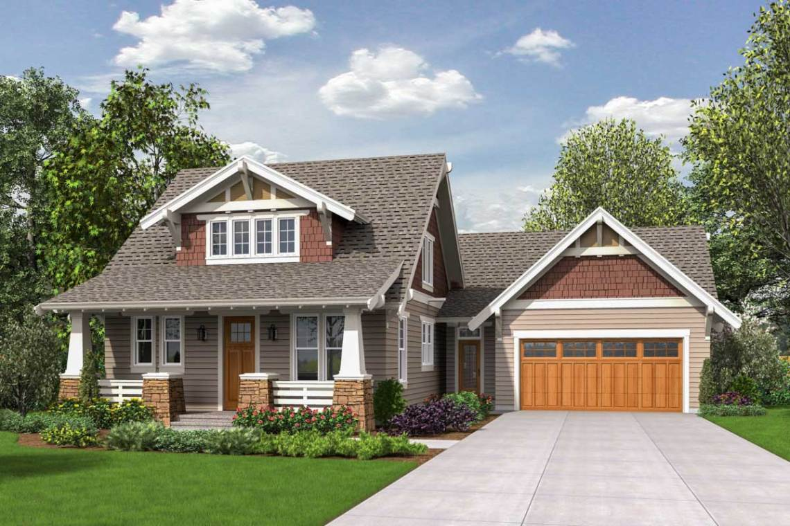Craftsman Bungalow with Loft - 69655AM | Architectural ...