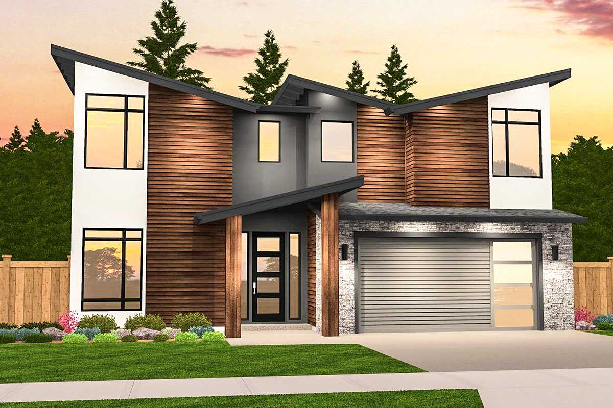 Angular Modern House Plan with 3 Upstairs Bedrooms ... on Modern House Ideas  id=46111