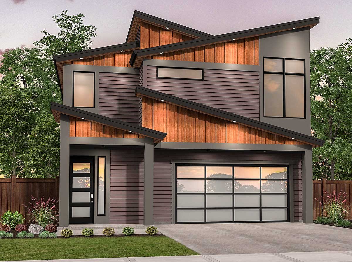Edgy Modern House Plan with Shed Roof Design - 85216MS ... on Modern House Ideas  id=78730