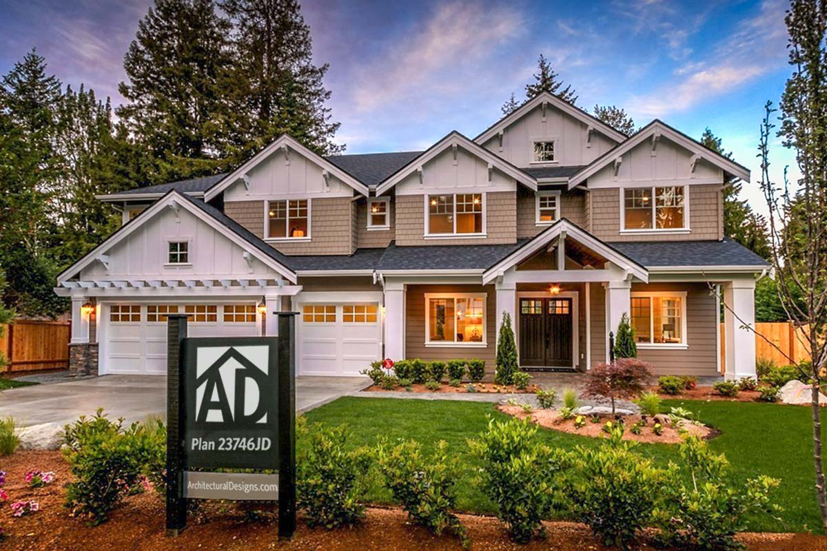 Modern Craftsman House Plan With 2Story Great Room