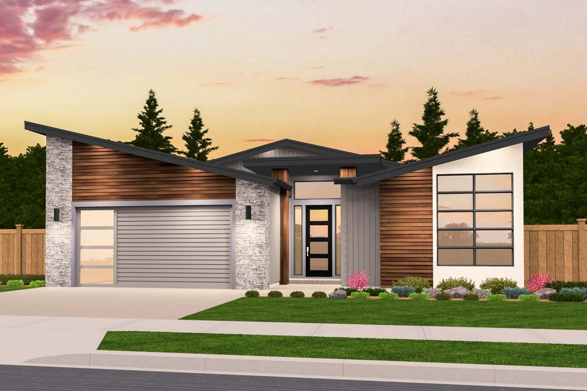 Exclusive One Story Modern House Plan with Open Layout ... on Modern House Ideas  id=48303