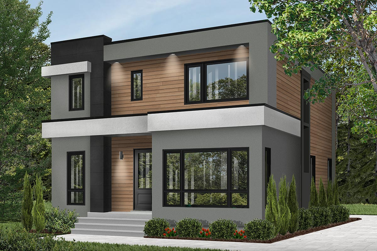 4-Bed Modern House Plan with Master Balcony - 22488DR ... on Modern House Ideas  id=24658