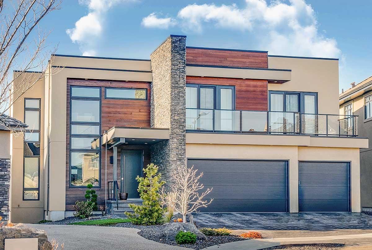 Striking Modern House Plan with Second Floor Patio ... on Modern House Ideas  id=27064