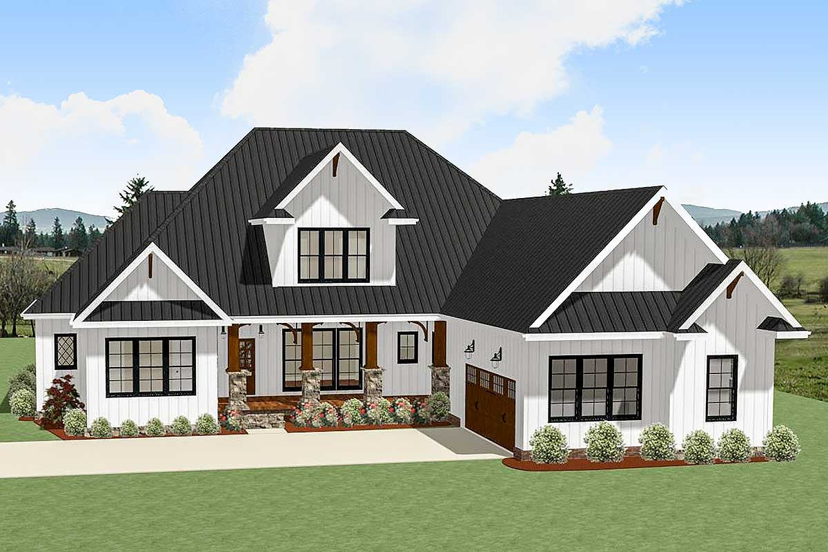 4Bed Country Craftsman with Garage Options 46333LA