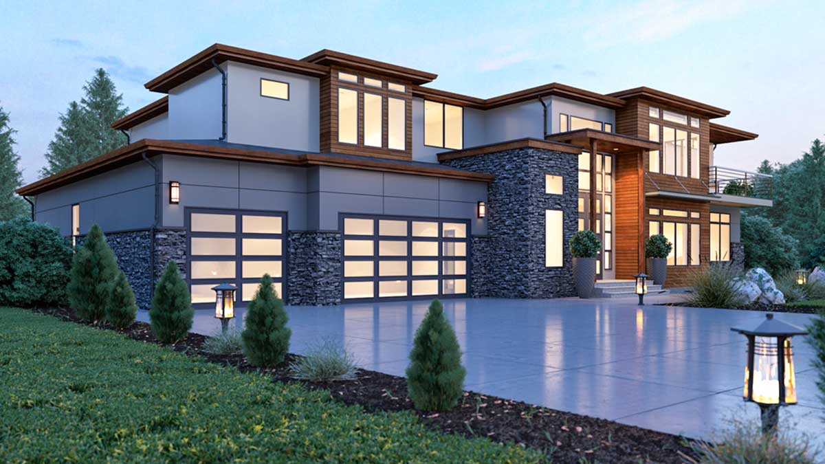 Modern House Plan with 2-Story Ceilings and Walls of Glass ... on Modern Glass House Designs  id=81567