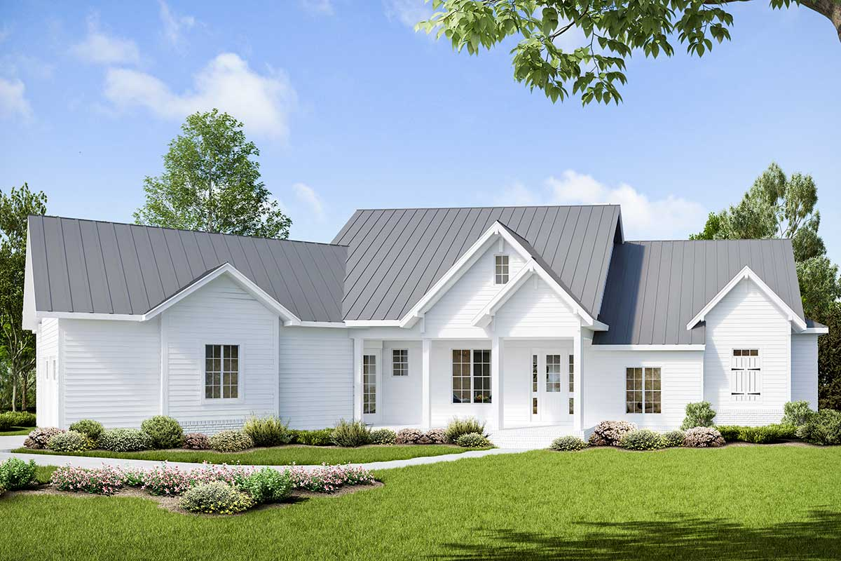 3Bed Modern Craftsman House Plan with Angled Garage
