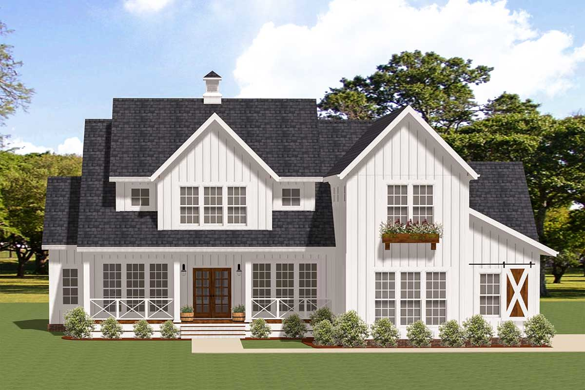 Modern Farmhouse Plan with Ample Outdoor Living Space ... on Farmhouse Outdoor Living Space id=86590