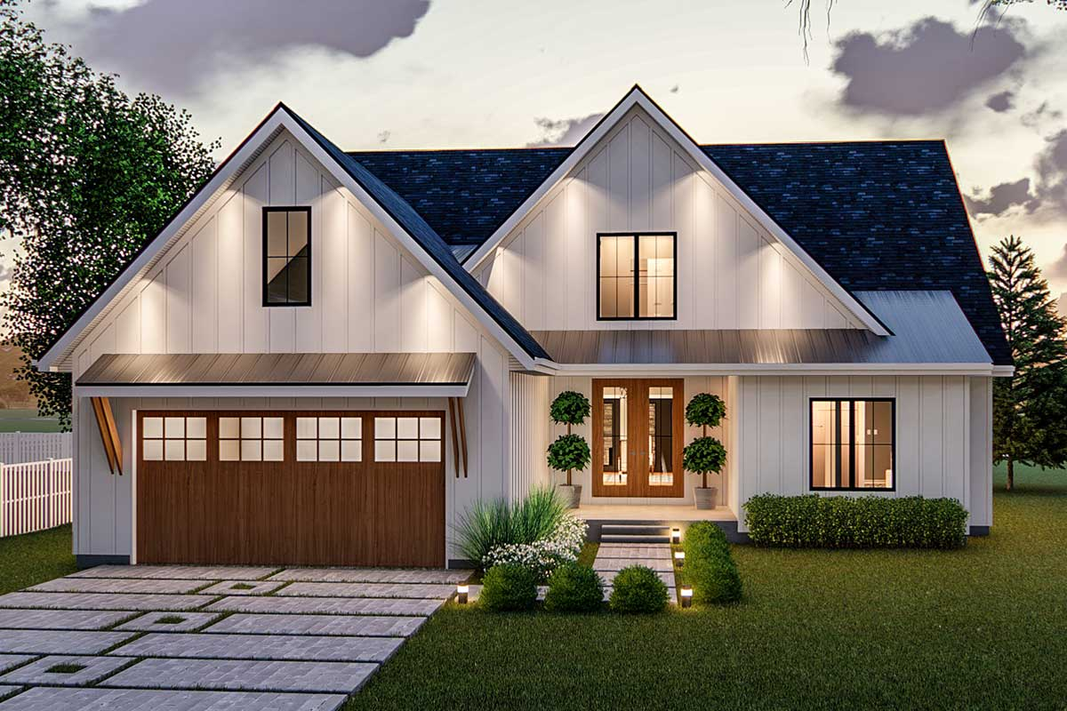 Exclusive Modern Farmhouse Plan Offering Convenient Living ... on Modern House Ideas  id=84895