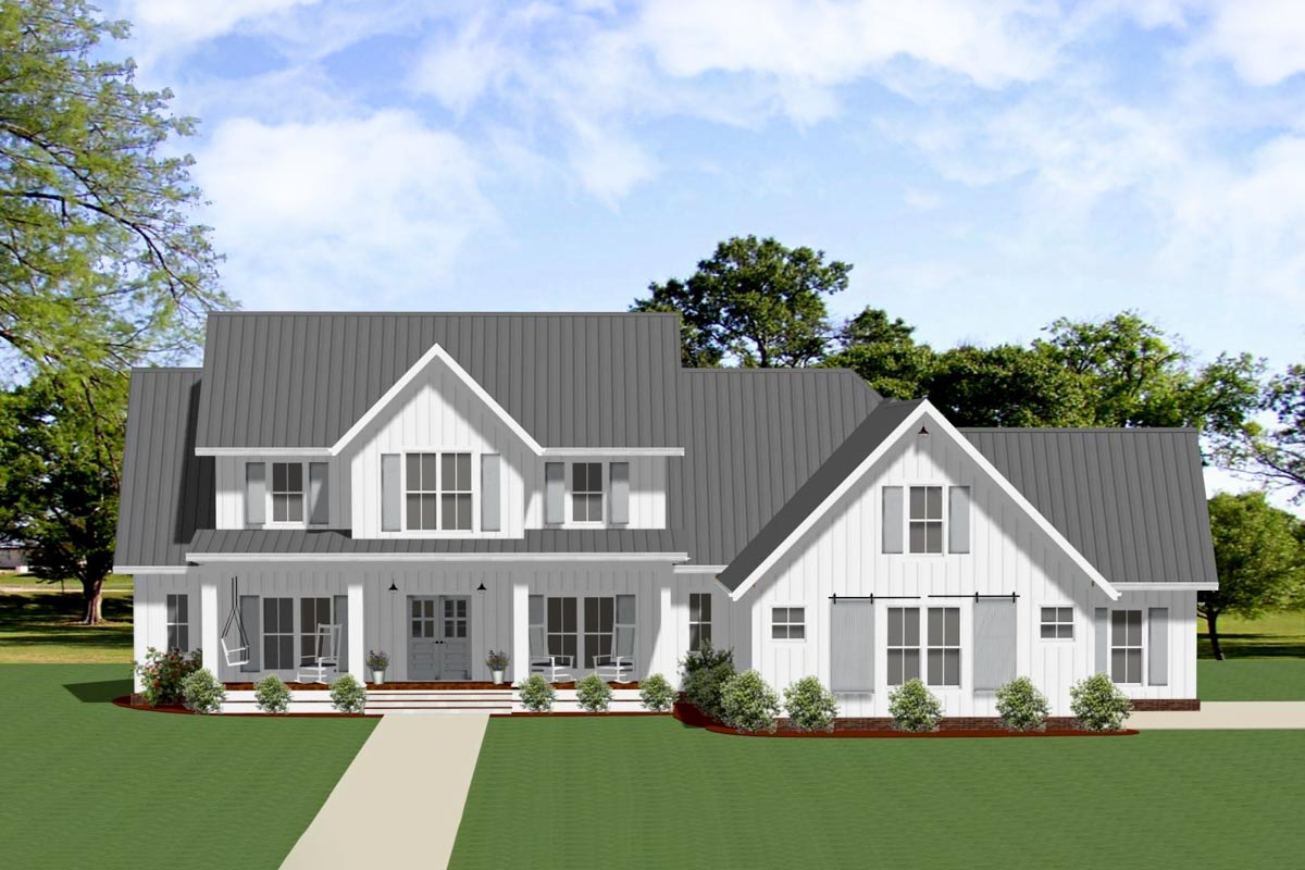 Exclusive Modern Farmhouse Plan with Outdoor Living Room ... on Farmhouse Outdoor Living Space id=78968