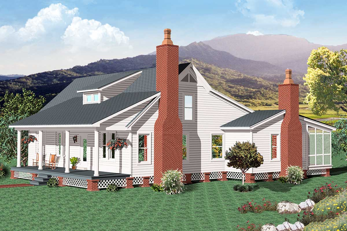 One-level Country Farmhouse Plan with Outdoor Living Space ... on Farmhouse Outdoor Living Space id=12195