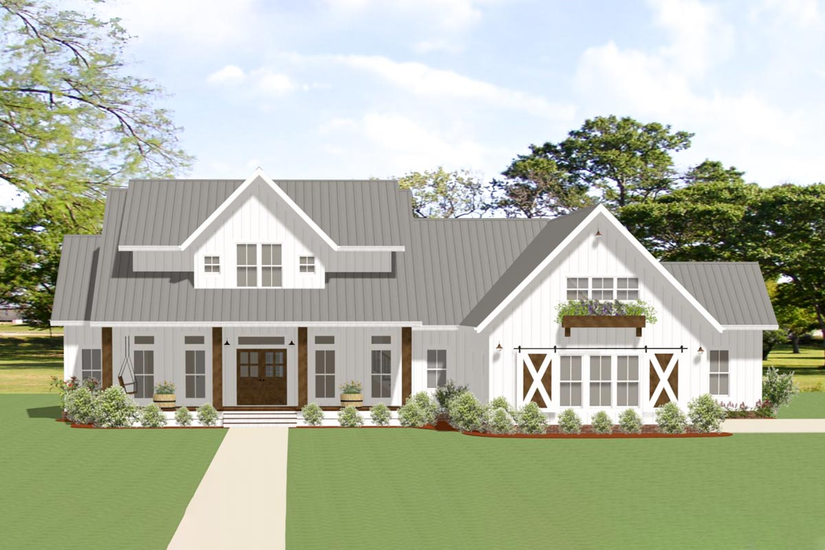 3-Bed Modern Farmhouse Plan with Outdoor Living Room and ... on Farmhouse Outdoor Living Space id=67043