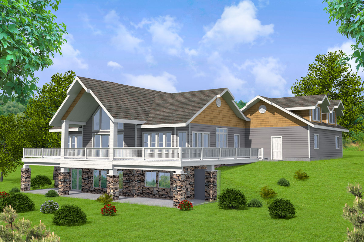 Mountain House Plan with Two Open Decks and a Covered ... on Covered Back Deck Designs id=27583