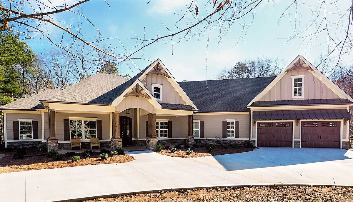 Craftsman House Plan with Angled Garage 36031DK