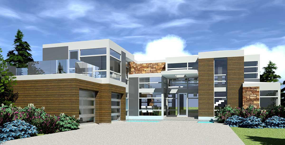 Modern Ultimate Entertaining House Plan - 44121TD ... on Modern House Ideas  id=13232