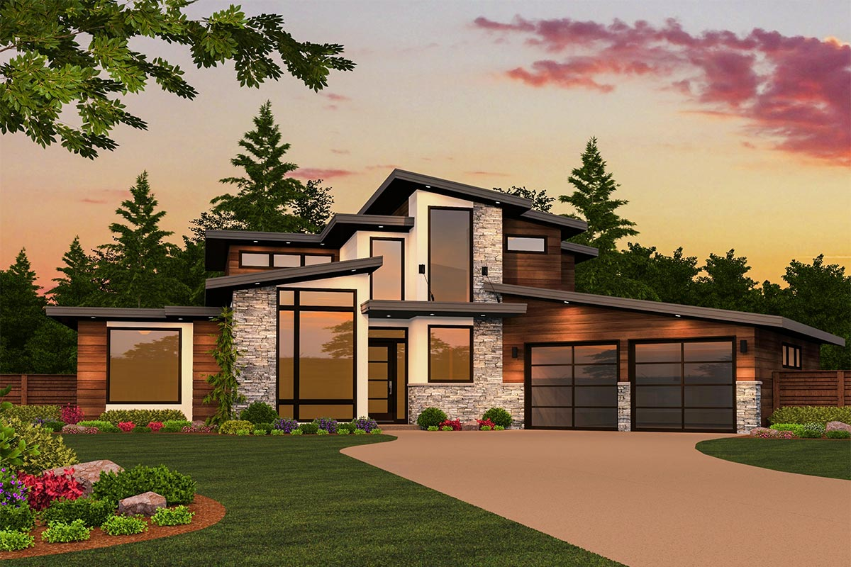 Modern Masterpiece with Up to 5 Beds - 85130MS ... on Modern House Ideas  id=58486