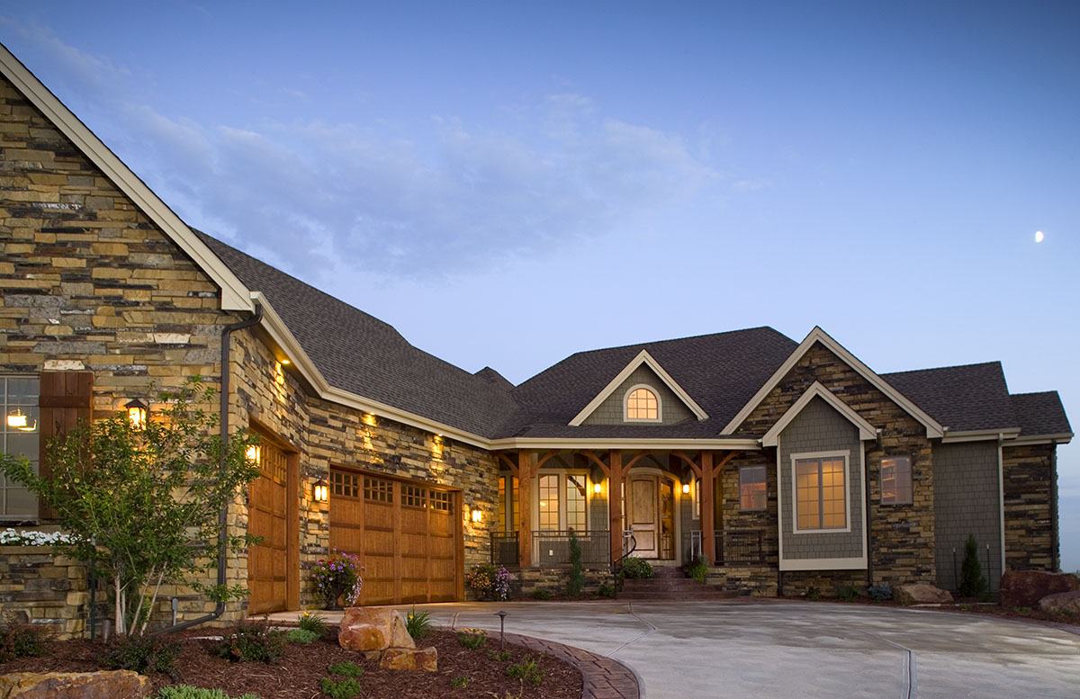 Craftsman Home with Angled Garage 9519RW Architectural