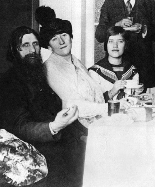 Rasputin with his wife and his daughter Matryona (Maria), far right, in 1911