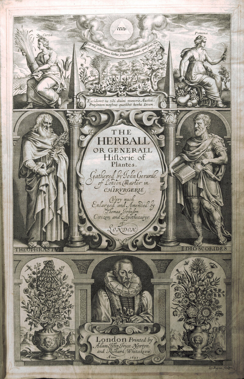 The title page from John Gerard's <em>The Herball or Generall Historie of Plantes</em>, 1633.
