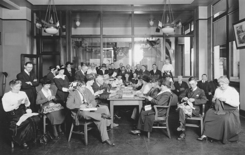 An American Red Cross knitting class during World War One.