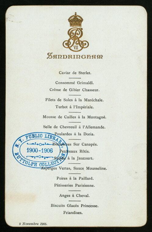 Menu pour le dîner d'anniversaire du roi Edward VII, 1905.