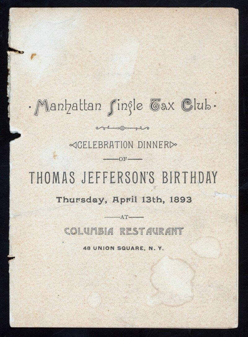 Menu d'un dîner en l'honneur de l'anniversaire de Thomas Jefferson, 1893.