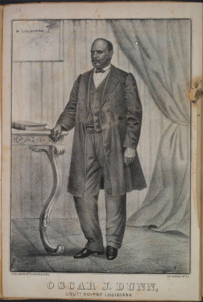 An lithograph of Oscar J. Dunn.