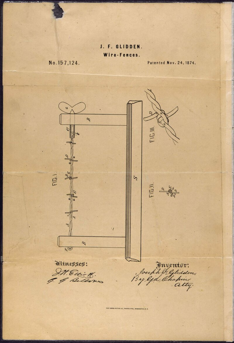 J.F. Glidden's 1874 patent for barbed wire improved on a previous design and was quickly adopted as the standard.