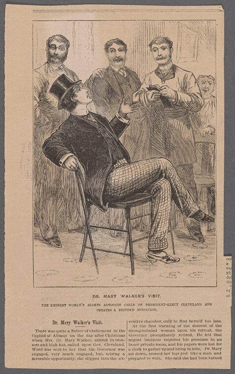 "A cartoon depicting the ""eminent women's rights activist"" Walker during her visit to meet President-Elect Grover Cleveland in 1885. A ""strong minded woman"" who ""crossed her legs just like a man,"" it stated."""