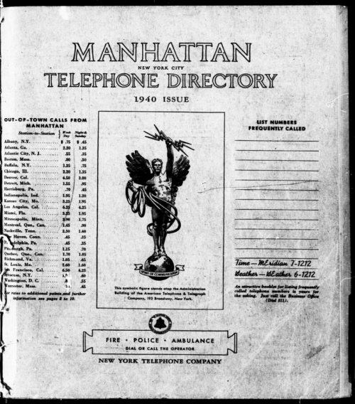 A Manhattan Telephone Directory from 1940.