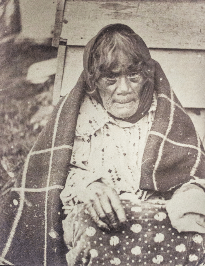 A late 18th-century photograph of a Moriori woman in Western clothing.