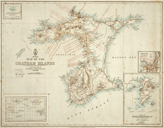 An 1887 map of the Chatham Islands.
