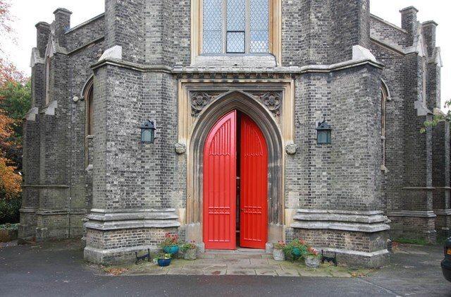 The red front door of St. Michael's.
