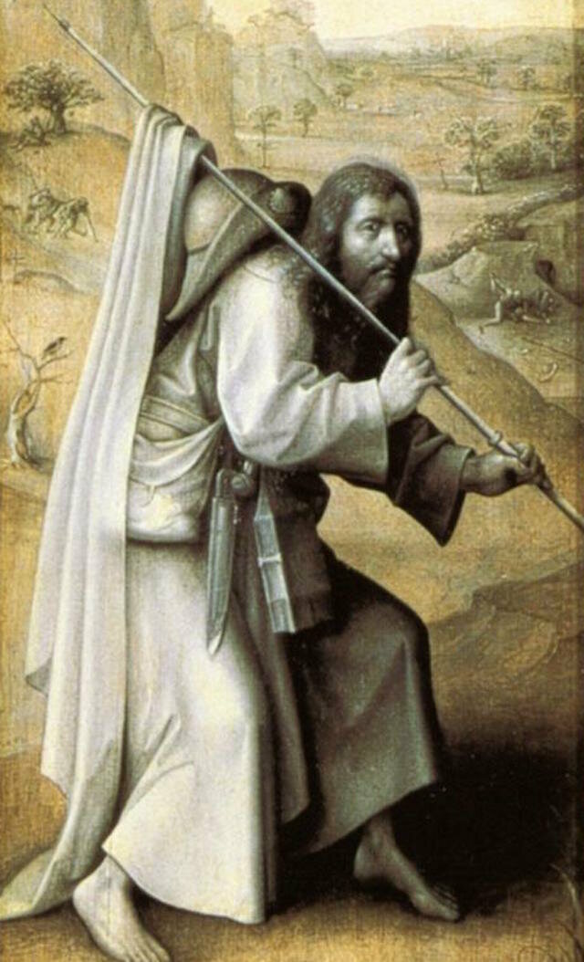 Saint James wears a girdle book in 16th-century panel by Hieronymus Bosch.