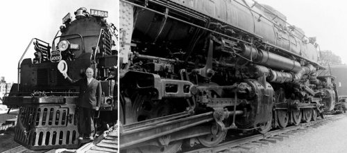 "From left: Otto Jabelmann, chief mechanical officer for Union Pacific in front of the first ""Big Boy"" locomotive; a close up of the Big Boy cylinder, motion, and steam pipe arrangements."