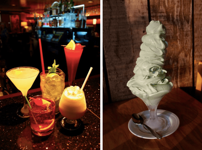 Some of the drinks available at supper clubs, and a three-person Grasshopper.