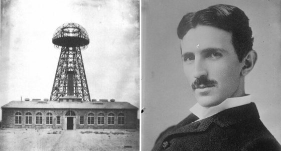 Wardenclyffe wireless station shown in 1904, and a portrait of Tesla, c. 1900.