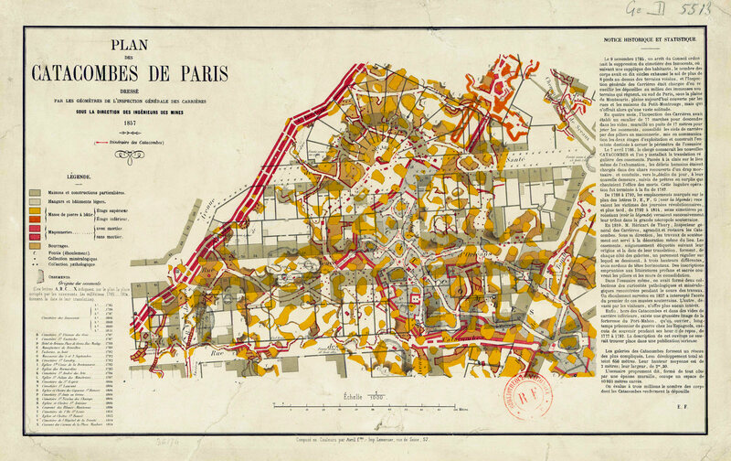 An 1857 map of Paris's Catacombs, which have long served as overflow burial grounds.