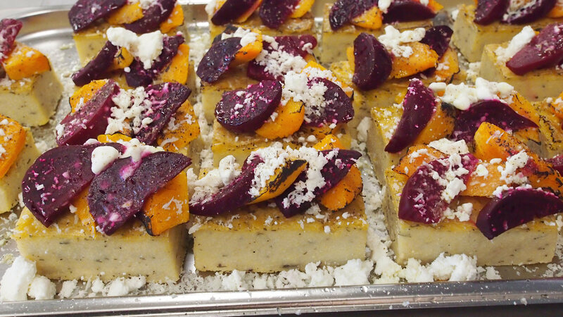 Polenta with goats cheese and balsamic roasted beets.