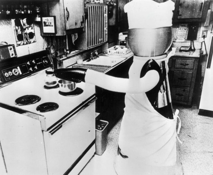 A 1970s model of a kitchen robot, hard at work.