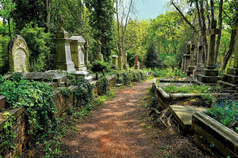 Highgate Cemetery, London, holds the grave of Karl Marx, among other famous figures.