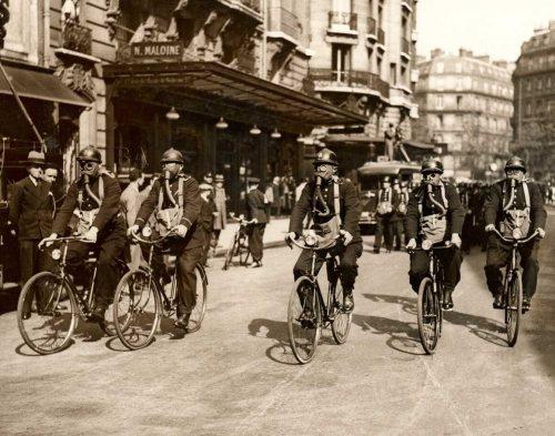 Police wear gas masks in defense drills, Paris, 1935.