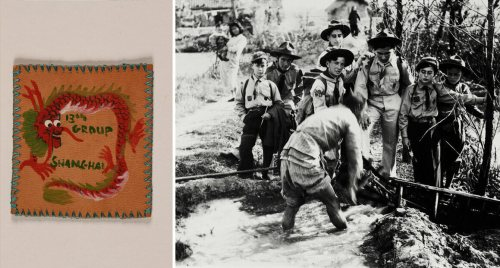 From left: Boy scout troop badge; Jewish boy scouts in China watch the watering of ricefields.