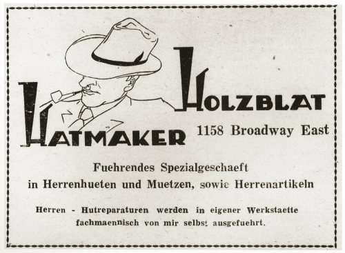 "Advertisement  for the ""Holzblat Hatmaker,"" a Jewish refugee-owned hat and accessory shop for men in Shanghai."